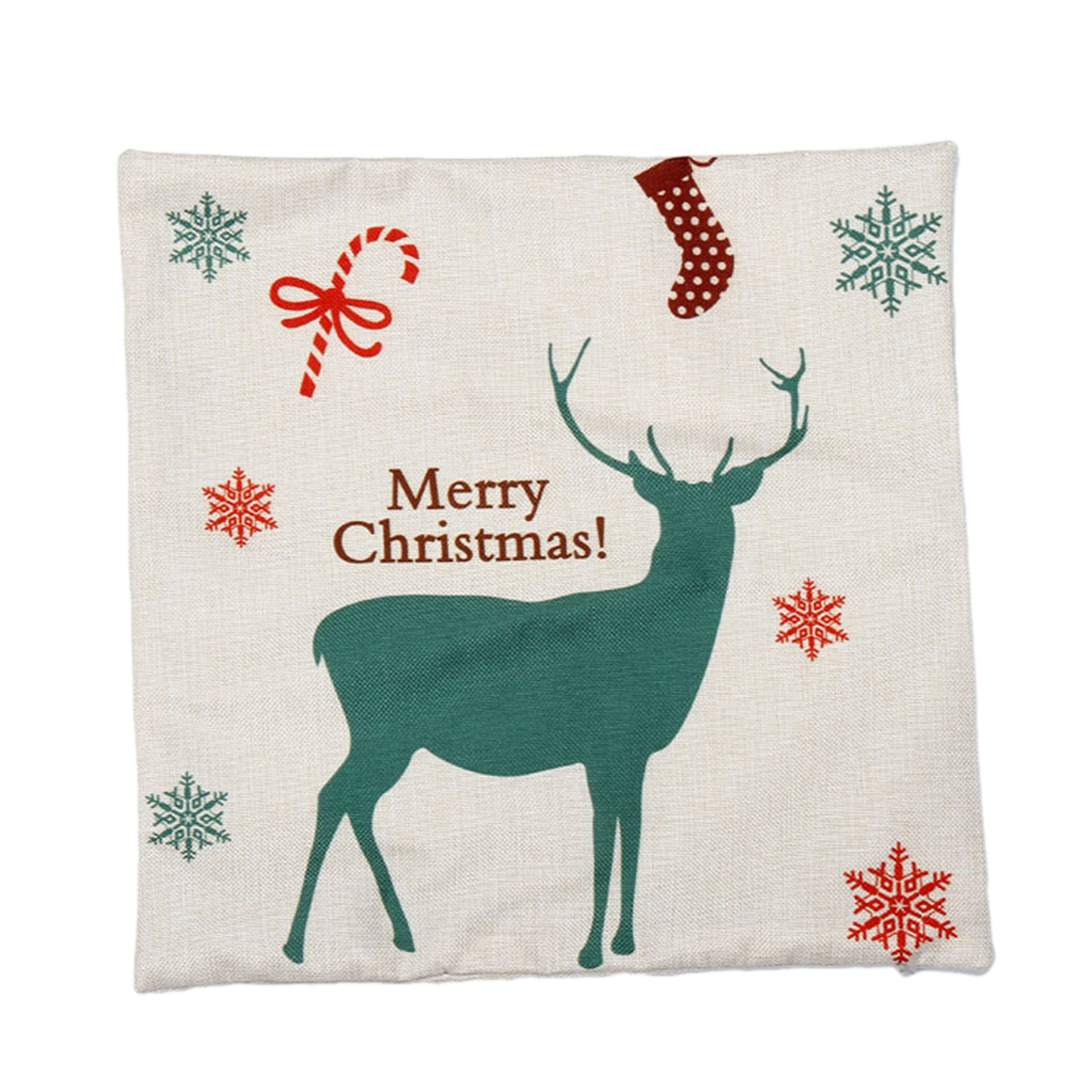 Piccocasa Linen Christmas Deer Printed Cushion Cover Pillow Case Green