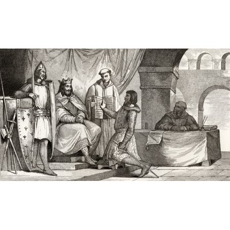 Louis Ii The Stammerer 848 To 879 Receives An Oath Of Allegiance From A Noble From Histoire De France By Colart Published Circa 1840 Canvas Art   Ken Welsh  Design Pics  38 X 22