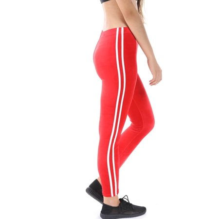 Salt Tree Women's Soft Velvet Tapped Stripe Side Super Stretch - Black And Red Striped Leggings