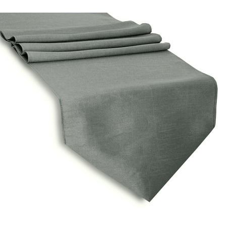 "Aiking Home (Pack of 1)13""x 72"" -Solid & Unlined Classic Faux Silk Table Top Runner , Gray--Perfect for Party Decor, Baby Shower ,Wedding, Thanksgiving, Christmas or any Special Event"