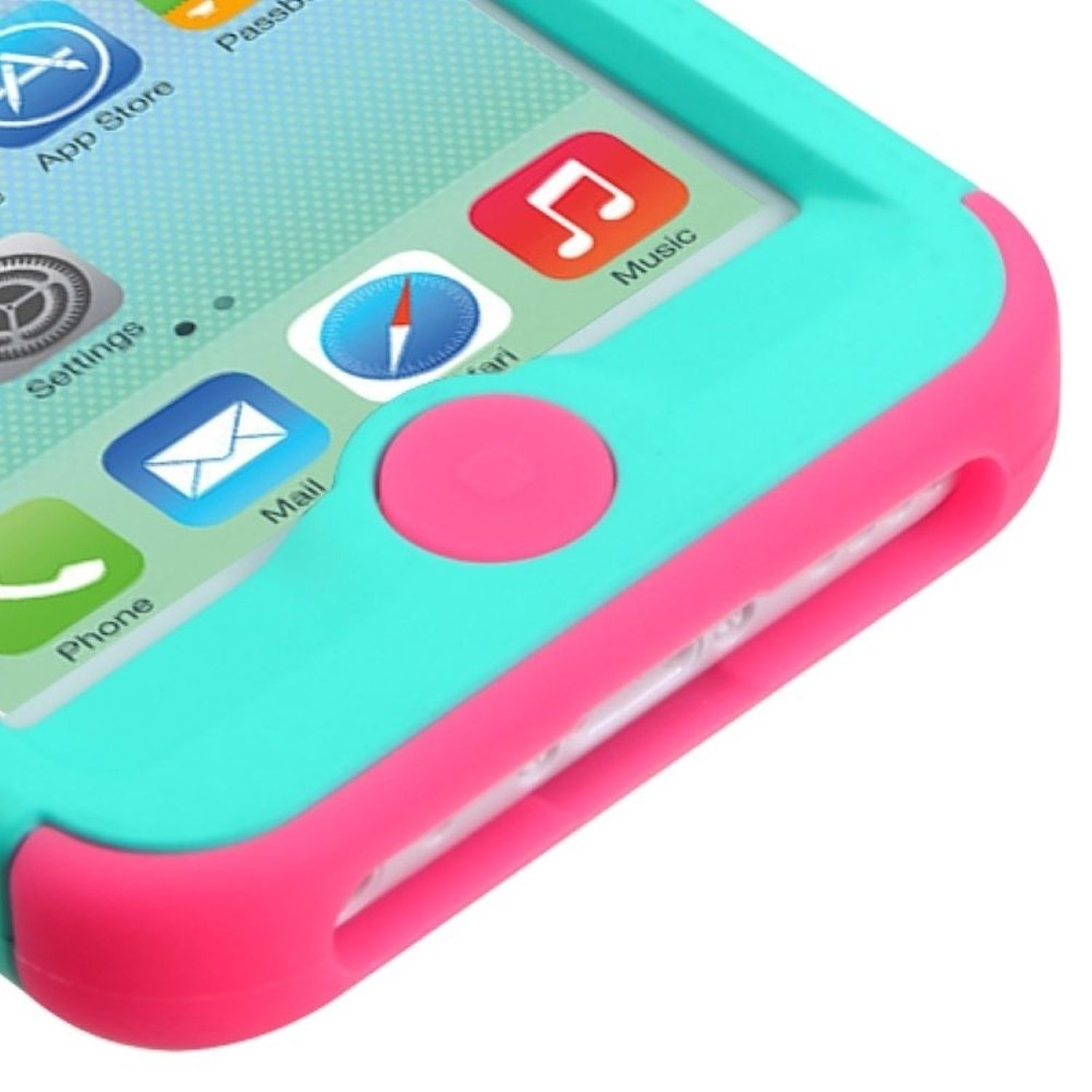 Insten Teal Green/Electric Pink Stylish TUFF Hybrid Phone Hard Premium Case For Apple iPhone 5C