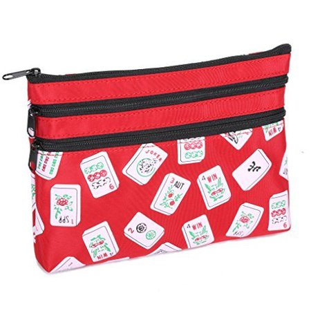 Mah Jongg Red Color Tiles 3 Zipper Mah Jong Purse for Mahjong Card - image 1 of 2