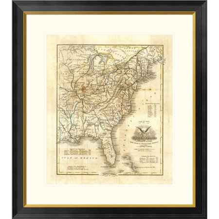 Global Gallery Map of The United States, 1845 by John Warner Barber Framed Graphic Art