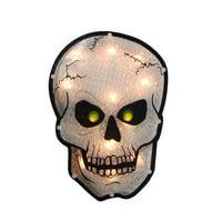 "Northlight 12"" Holographic Lighted Skull Halloween Window Silhouette"