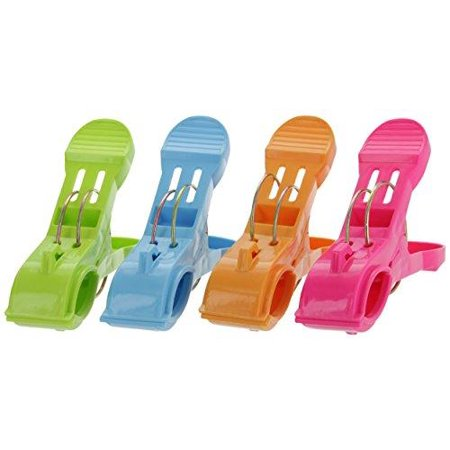 Ram- Pro Set of 4 Beach Towel Clips - Plastic Quilt Hanging Clips Clamp Fun Bright Colors for Keep Your Towel from Blowing Away - Heavy Duty Clips for Beach (Pro Bath)