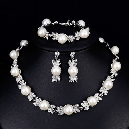 Women Elegant Bridal Jewelry Sets Rhinestone Pearl Necklace + Earrings + Bracelet for Wedding Valentine's Day Gift - image 2 of 7
