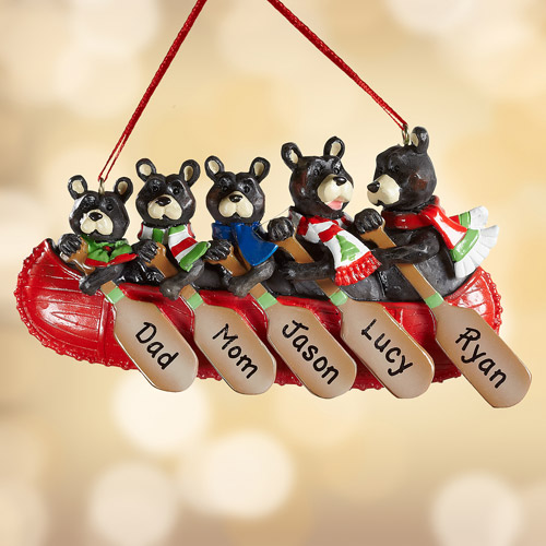 Personalized Bear Family in Canoe Ornament, 5