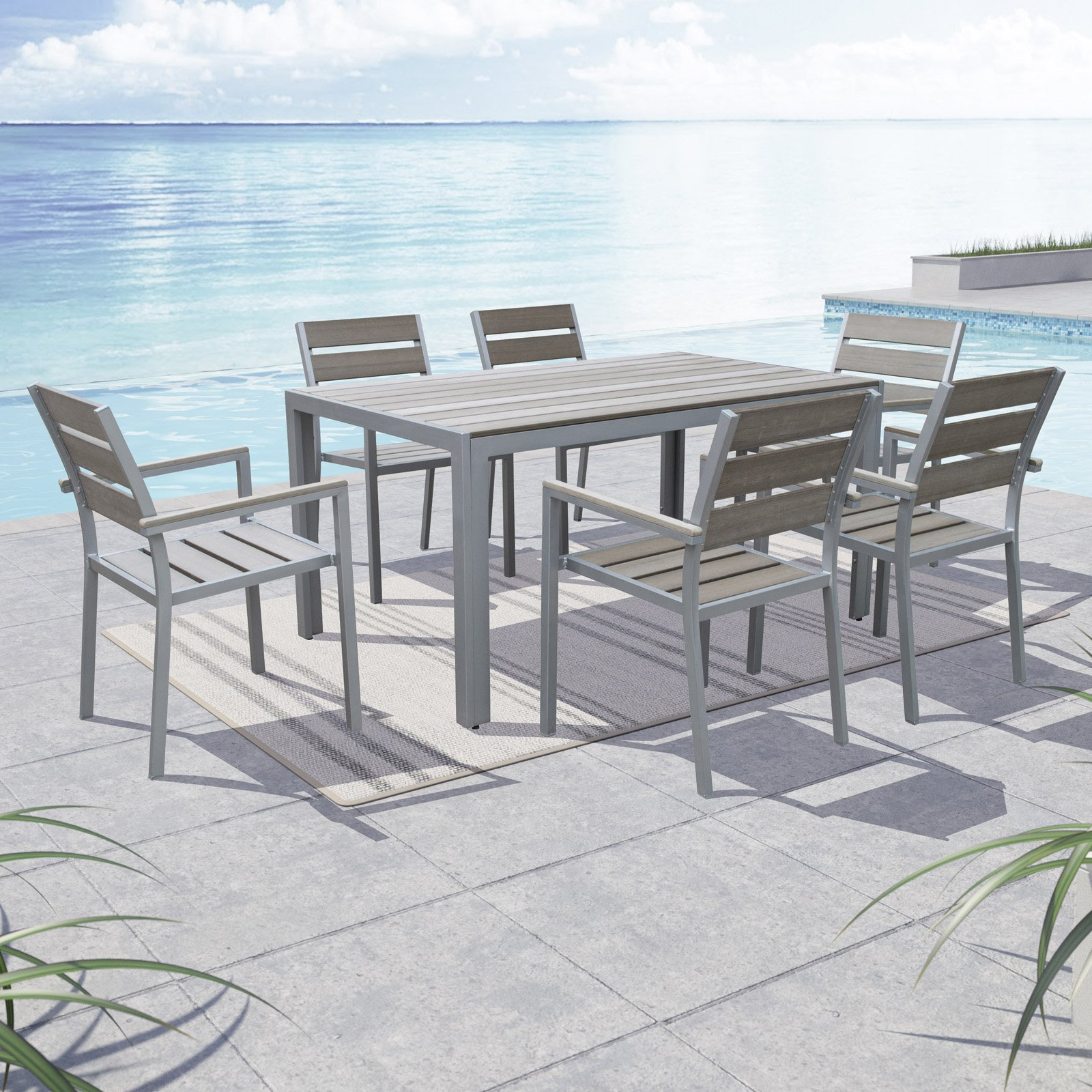 CorLiving Gallant Aluminum 7 Piece Rectangular Patio Dining Room Set by Overstock