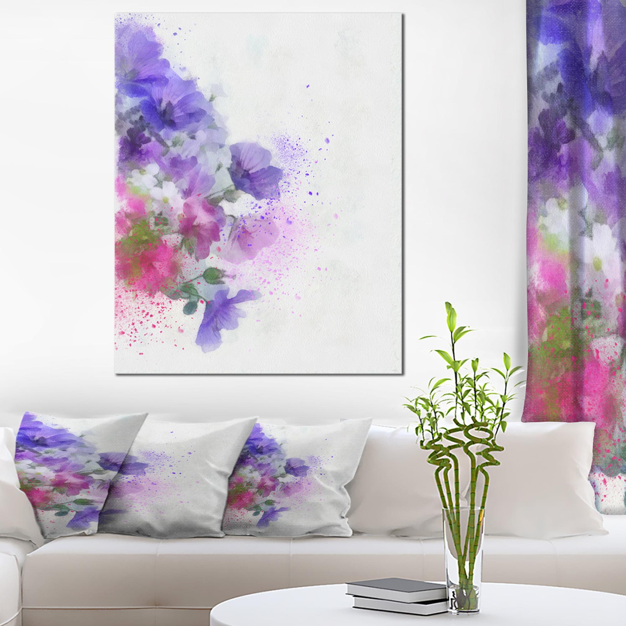Little Purple Flowers Hand Drawn Flowers Canvas Wall Artwork