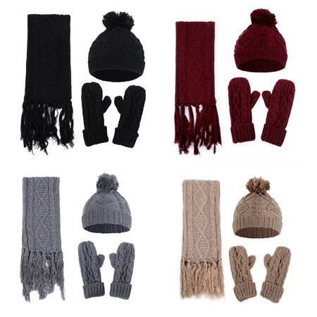 b53175e3bec Directer - Directer Winter Warm Solid Color Men Women Pompom Beanie ...