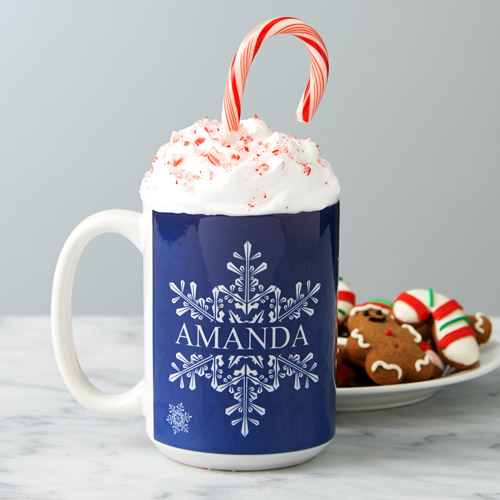 Personalized Snowflake Coffee Mug, 15 oz