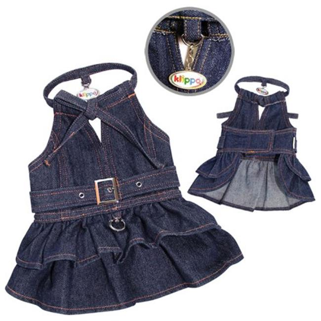 Klippo Pet KDR052LZ Stylish V-Neck Denim Dog Dress With Adjustable Neck Strap - Large