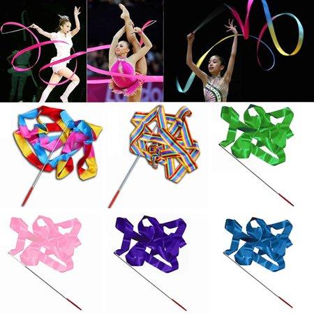 Obstce 4M Colorful Dance Ribbon Gym Rhythmic Art Gymnastic Streamer Twirling Rod Stick - Dance Ribbon