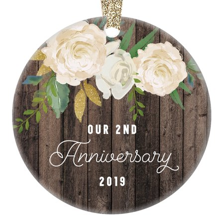 2nd Year Anniversary Gifts, Our 2nd Married Christmas Ornament 2019, Wedding Anniversaries Marriage Couple Him Her 3
