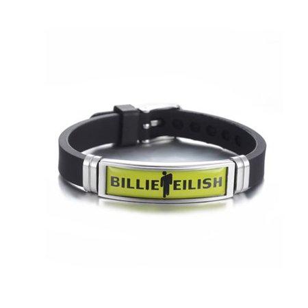 KABOER Billie Eilish  Stainless Steel Silicone Charm Bracelets Adjustable Hip Hop Sports Wristbands Fans Gifts Fan Bracelet Wristband