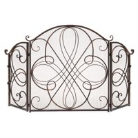 Best Choice Products 3-Panel 55x33in Solid Wrought Iron See-Through Metal Fireplace Screen, Spark Guard Safety Protector w/ Decorative Scroll, Antique Bronze Finish