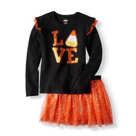 Girls' Long Sleeve Graphic Ruffle T-Shirt & Foil Mesh Skirt, 2Pc Outfit Set