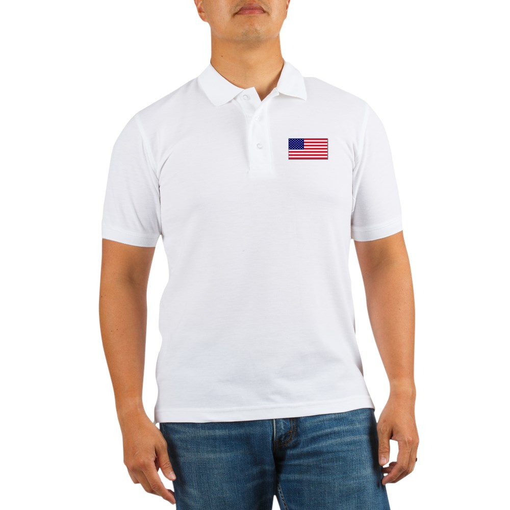 CafePress - American Flag Golf Shirt - Golf Shirt, Pique Knit Golf Polo