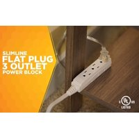 SlimLine 2232 Angled Flat Plug Extension Cord 3 Wire, 13 Foot, White