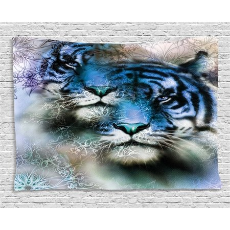 Animal Safari Wall Hangings - Animal Decor Tapestry, Two Tiger Safari Cat African Wild Furious Life Big Animals Art Print, Wall Hanging for Bedroom Living Room Dorm Decor, 60W X 40L Inches, Blue Black and White, by Ambesonne