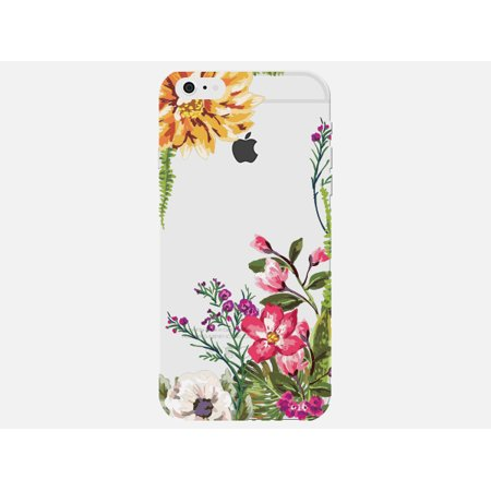 - Colorful Multiple Flower Floral Design Stylish Clear Phone Case - For Apple iPhone 6 Phone Back Cover