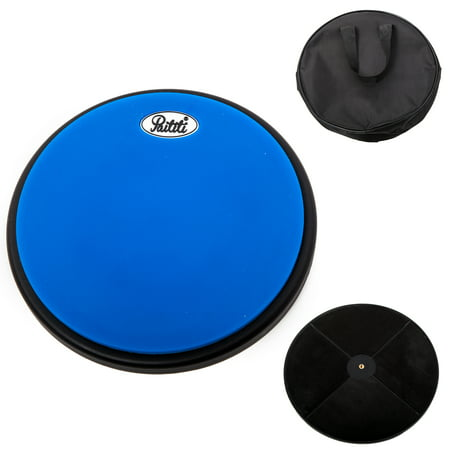 PAITITI 8 Inch Silent Portable Practice Drum Pad Round Shape with Carrying Bag Blue Color  - Bonus 7A