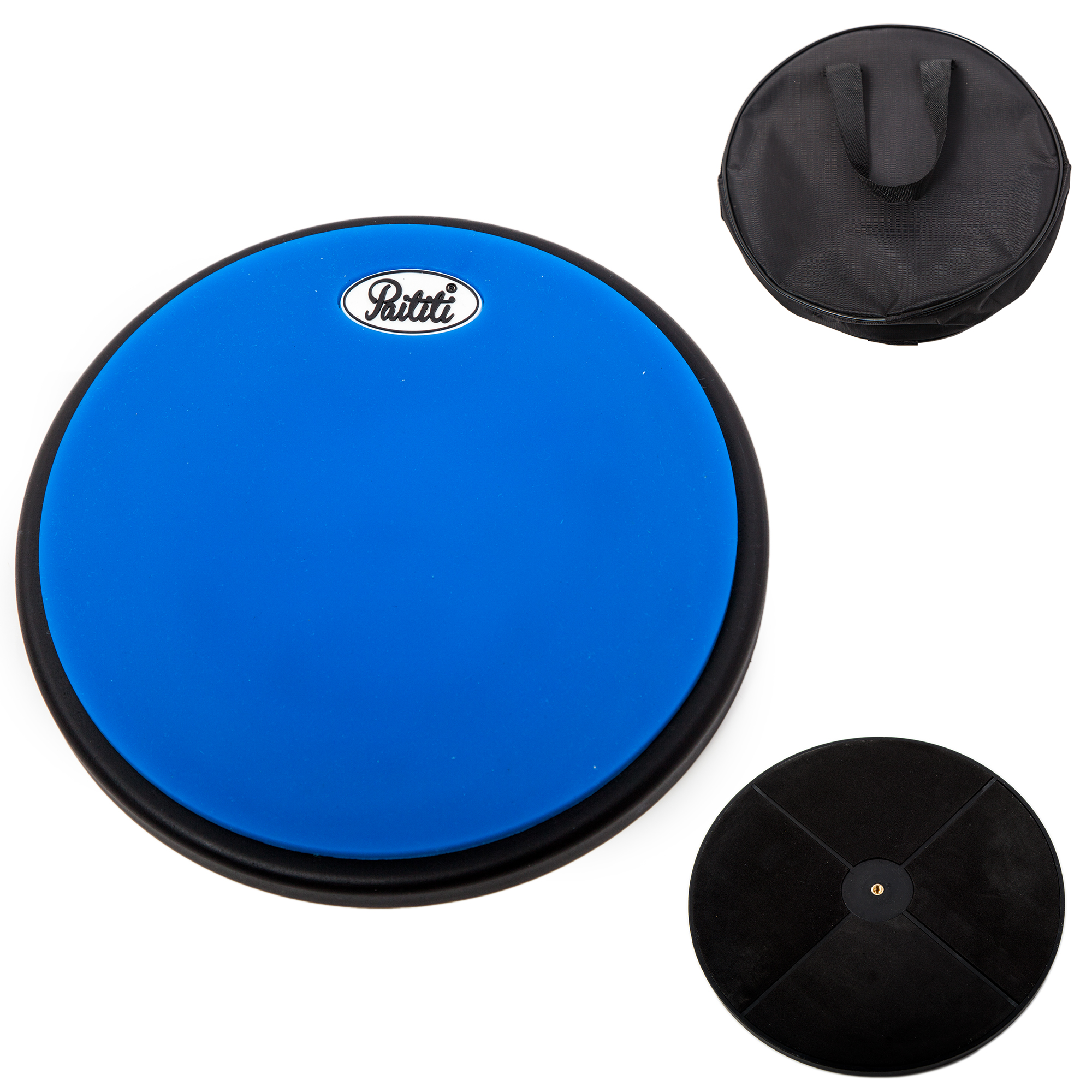 PAITITI 8 Inch Silent Portable Practice Drum Pad Round Shape with Carrying Bag Blue Color  - Bonus 7A Drumsticks