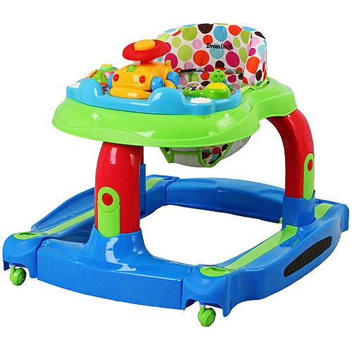 Dream On Me 2-in-1 Baby Tunes Musical Activity Walker and Rocker, Blue