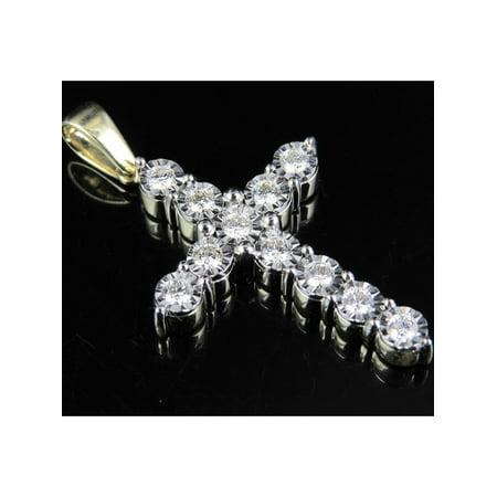 Set Round Diamond Cross - 10K Yellow Gold Prong Set Cross Round Diamond 1.5 Inch Charm Pendant 0.85ct
