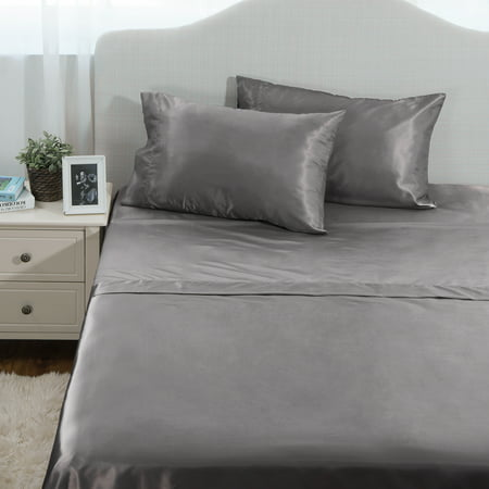 Bedsure 4-Piece Hypoallergenic Luxurious Satin Bed Sheet Set Dark Gray Smooth and Silky with Deep Pocket Wrinkle Free Fitted Sheet Flat sheet & Pillowcase (Patterned Deep Sheets Queen)