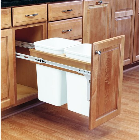 Rev-A-Shelf 4WCTM-15DM2-162 White 4Wctm Top Mount Double Bin Pull Out Can Tip Out Bin