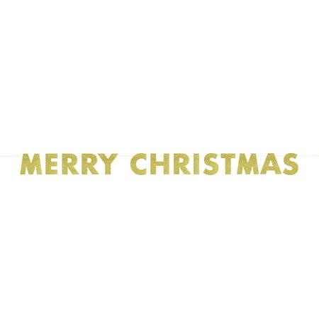 Glitter Merry Christmas Banner, 9ft, Gold, 1ct - Merry Christmas Banner