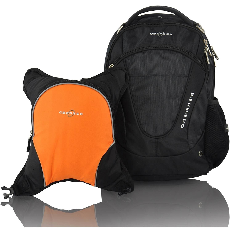 Obersee Oslo Diaper Bag Backpack and Cooler, Black/Orange