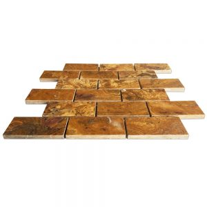 "Multi-Brown Onyx Brick Mosaic Tile 2"" X 4"""