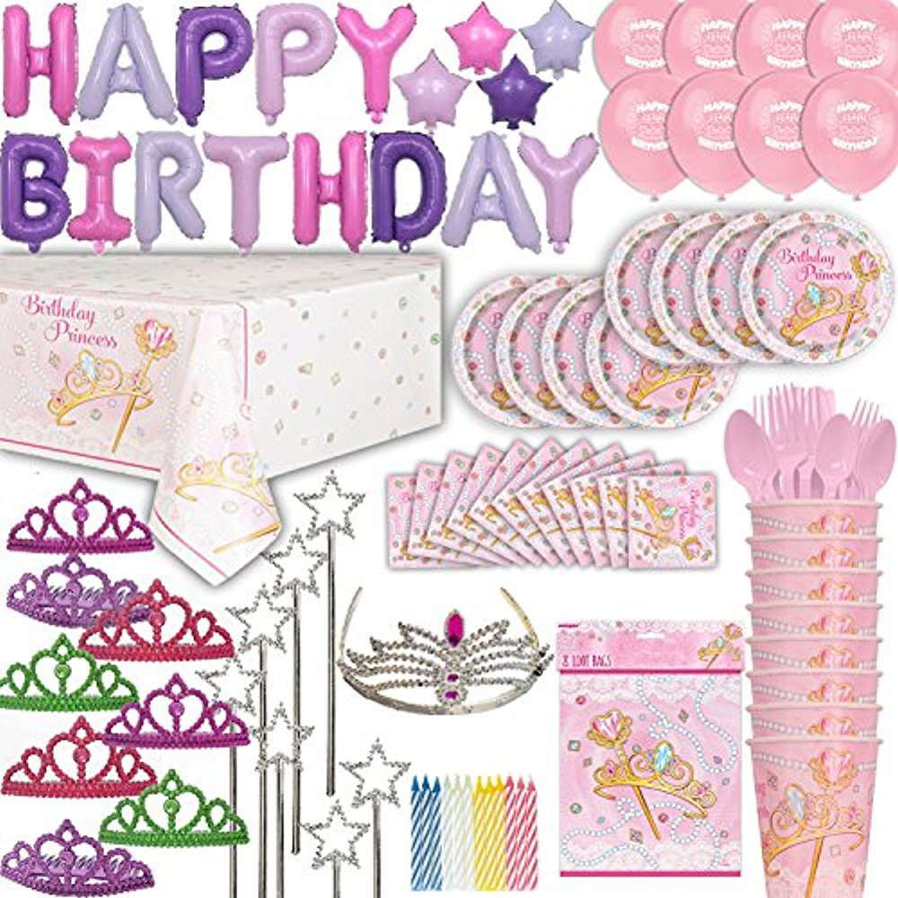 Princess Birthday Party for 8. 100+ Items: Plates, Cups, Cutlery, Napkins, Tablecloth, Foil Balloon Birthday Banner, Princess Balloons, Tiaras, Wands, Royal Tiara for Bday Girl, Bags, Candles, Tattoos