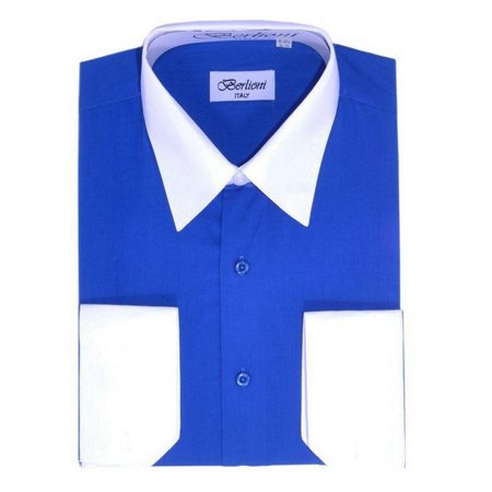 Wear French Cuff Shirts - Berlioni Men's Two-Tone French Convertible Cuff Button Up Dress Shirt Royal Blue Medium 32/33