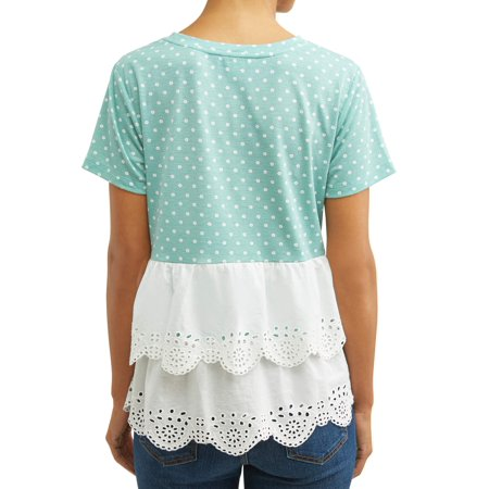 Women's Short Sleeve Top with Eyelet (Eyelet Trim Top)