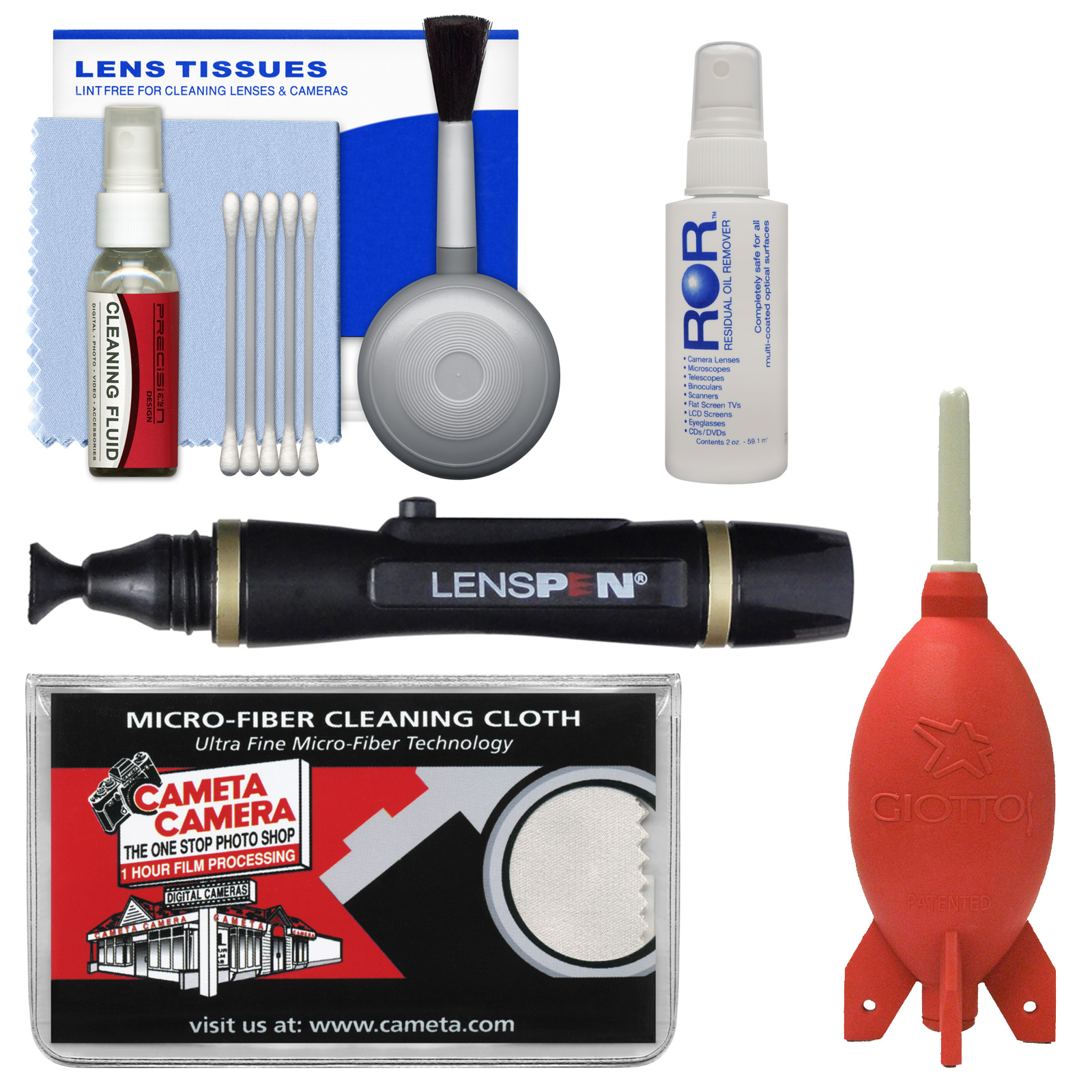 Cleaning Kit Essential Bundle with Blower, Fluid, Lenspen & Cloth for Canon, Nikon, Fuji, Olympus,Panasonic, Pentax & Sony ILC/DSLR Cameras