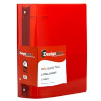 """JAM Plastic 3-Ring Binders, 3"""", Red,Sold individually"""