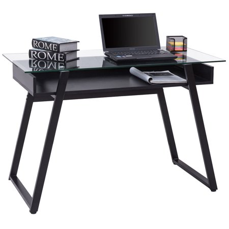 Gymax Glass Top Computer Desk PC Laptop Table Writing Study Workstation Home -