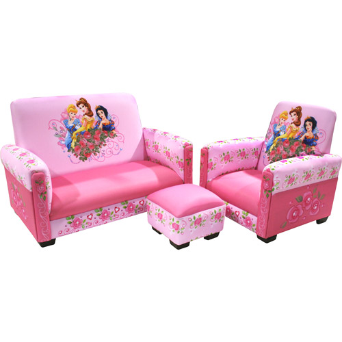 Disney Princess Jeweled Gardens Toddler Sofa Chair And Ottoman Set