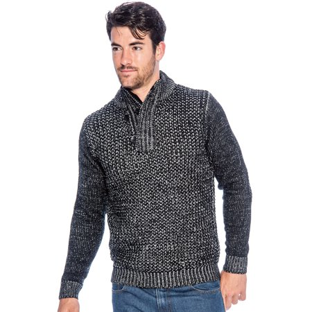 TR Men's Check Rib Sweater with Zip Collar by 9 Crowns Essentials