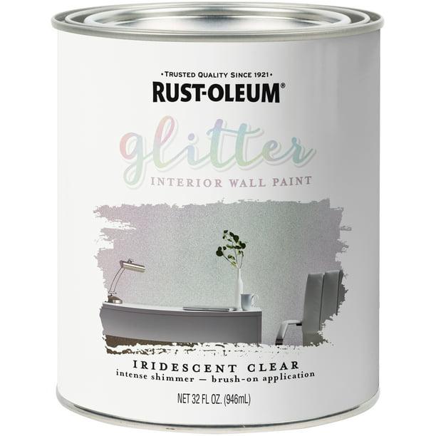 Rust Oleum Glitter Interior Wall Paint 32oz Iridescent Clear Walmart Com Walmart Com