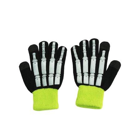 Nolan Boys Magic Stretch Black Winter Gloves Foiled Robot Skeleton 4-16
