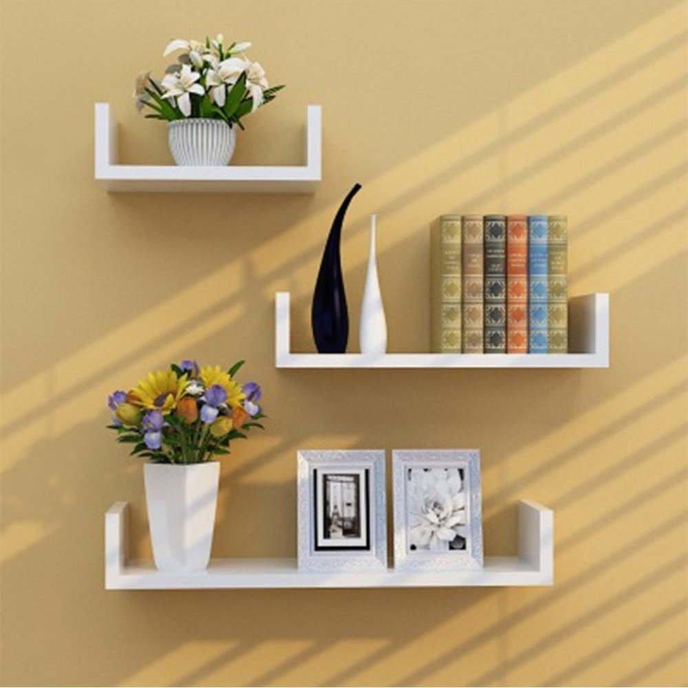 TANBURO Set of 3 White Floating Shelves U Shaped Book CD DVD Storage Display Wall Shelf E1 MDF Quick to Install Load Capacity 151bs