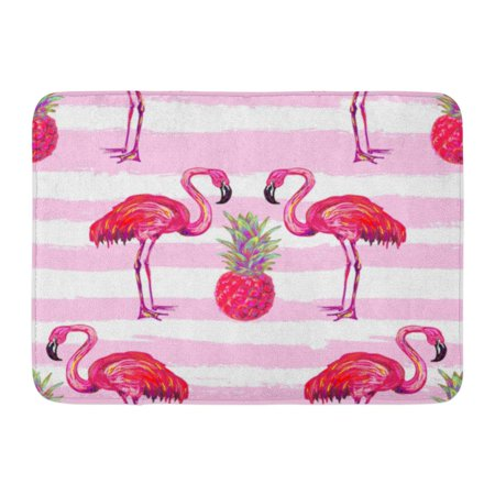GODPOK Back Pink Brazilian Summer Tropical Pattern Flamingo Pineapple Perfect Fills Flam Beach Rug Doormat Bath Mat 23.6x15.7