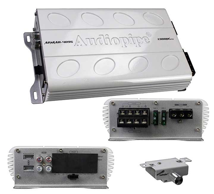 Audiopipe APMAR4095 4ch Mini Marine Amplifier 1300w Max