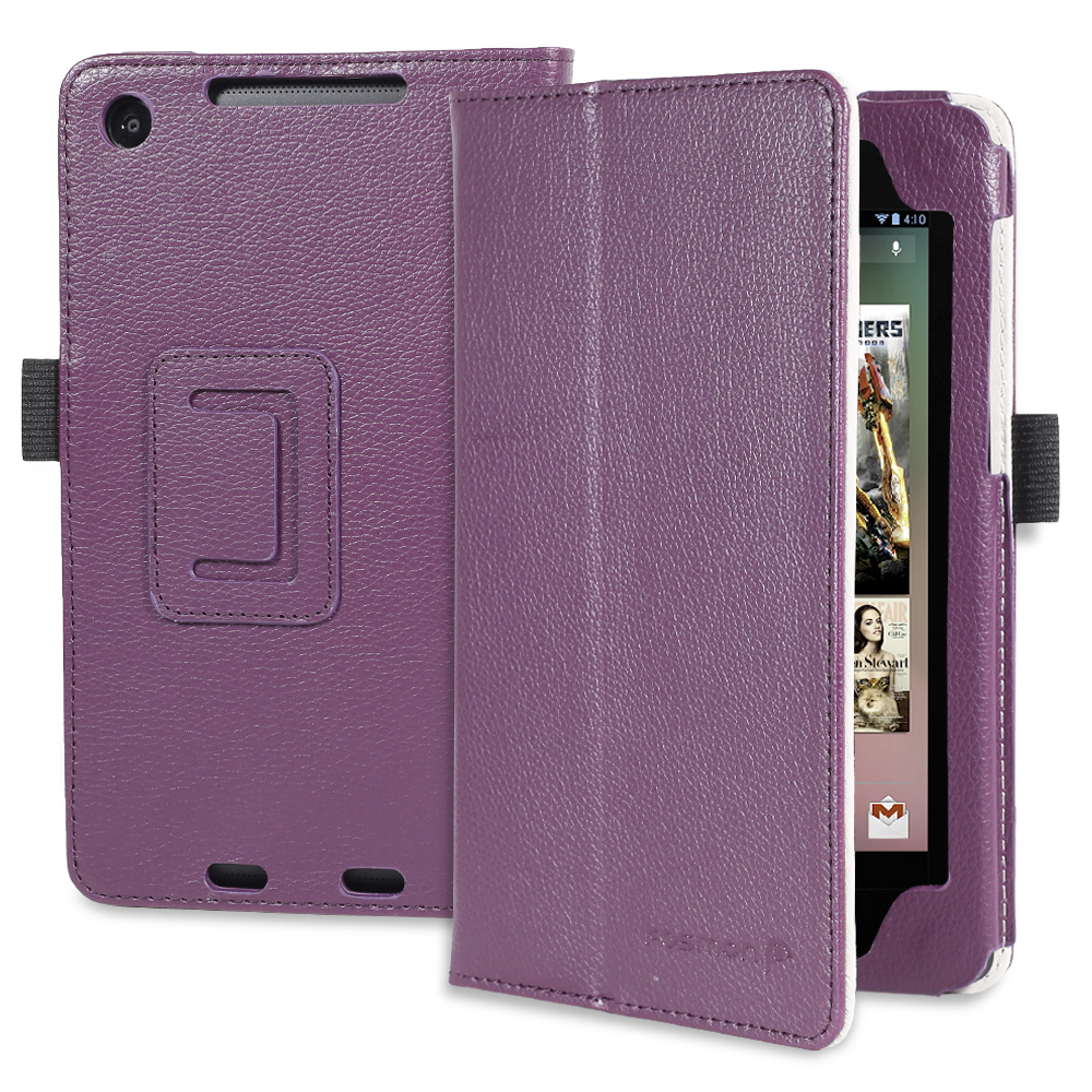 Fosmon OPUS Series Folding Leather Case with Stand, Hand Strap, Card Pockets and Stylus Slot for Google Nexus 7 FHD 2nd Generation 2013 Tablet (Purple)