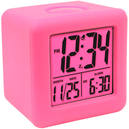 Equity Cube LCD Alarm Clock, Pink by Equity