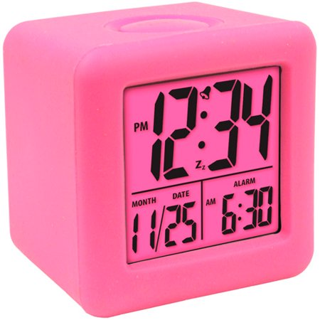 Equity Cube Lcd Alarm Clock  Pink
